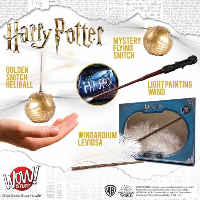 Two lucky winners will receive 1x Golden Snitch Heliball (RRP £34.99), 1x Mystery Flying Snitch (RRP £24.99), 1 x Light Painting Wands (RRP £30) and 1 x Wingardium Leviosa (RRP £14.99).