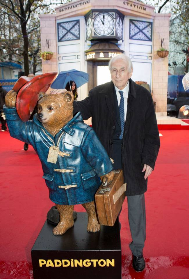 Michael Bond attending the world premiere of Paddington at the Odeon, Leicester Square in central London, the creator of Paddington bear has died at home aged 91 on Tuesday following a short illness, his publisher HarperCollins said. Image: Daniel Leal-Olivas/PA Wire