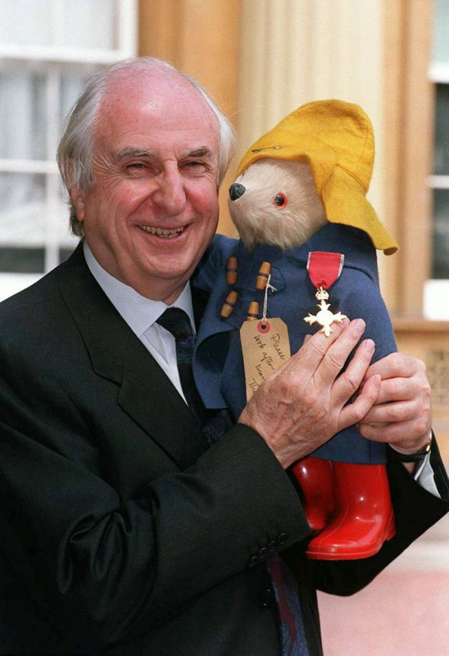 Michael Bond at Buckingham Palace in London where he received an OBE, the creator of Paddington bear, has died at home aged 91 on Tuesday following a short illness, his publisher HarperCollins said. Image: PA/PA Wire