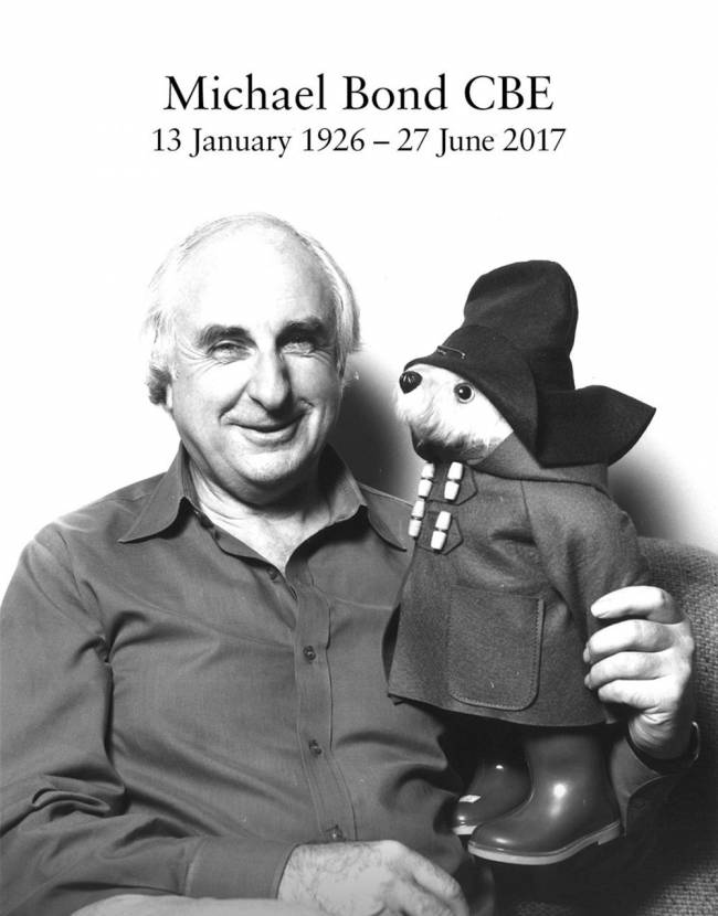 Paddington bear and his creator Michael Bond, who has died at home aged 91 on Tuesday following a short illness, his publisher HarperCollins said. Image: Studio Canal/PA