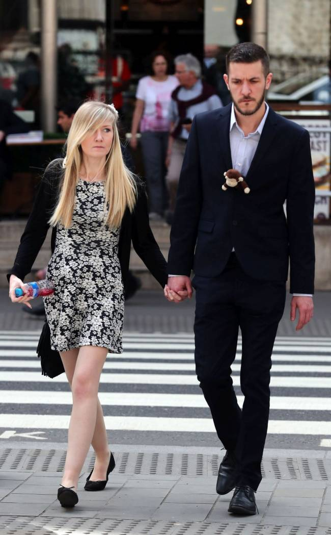 The parents of eight-month-old Charlie Gard, outside the High Court in London where judges have ruled that doctors can stop providing life-support treatment to their sick baby. Image: Gareth Fuller/PA Wire