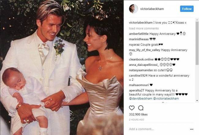 David and Victoria Beckham have marked their 18th wedding anniversary by sharing throwback photos of the early days of their relationship with sweet messages to each other. Image: Victoria Beckham/PA Wire