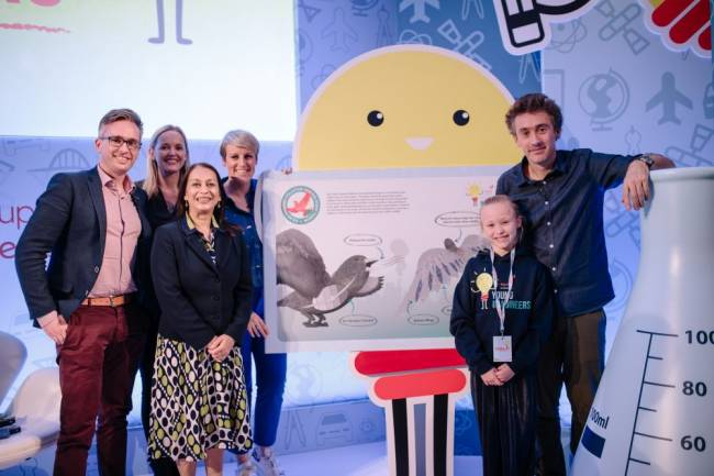 Millie with the judging panel at this year's The Young Imagineers 2018 competition