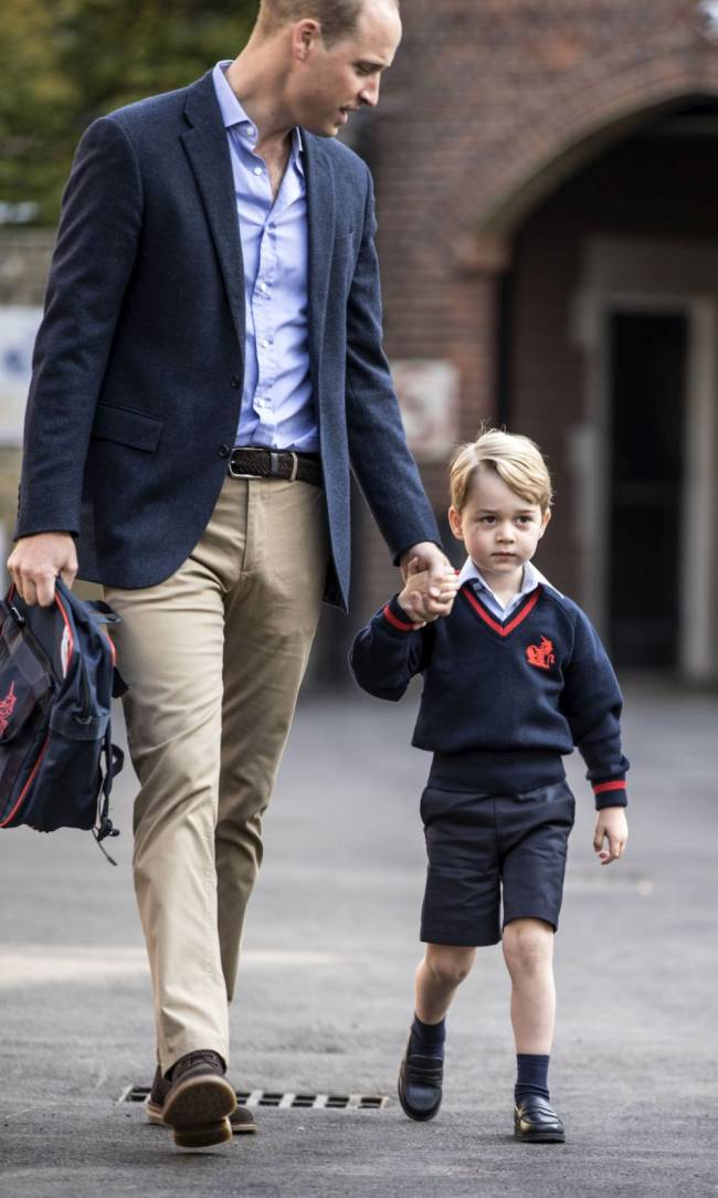 Prince George arrives with the Duke of Cambridge at Thomas's Battersea in London, as he starts his first day of school. Image: Richard Pohle/The Times/PA Wire
