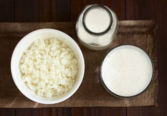Kefir or kephir, alternatively milk kefir or búlgaros, is a fermented milk drink made with a yeast/bacterial fermentation starter of kefir grains, that originated in the northern parts of the Caucasus Mountains.