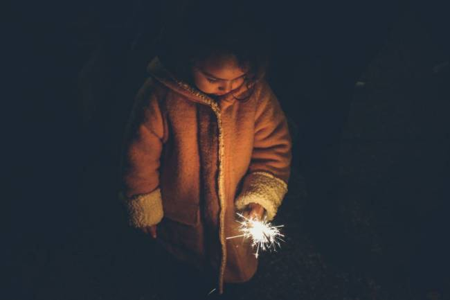 Girl with a sparkler in her hand