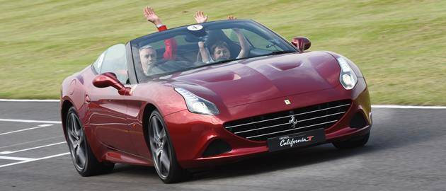 Children were given high-speed laps of the circuit in the latest Ferrari California T