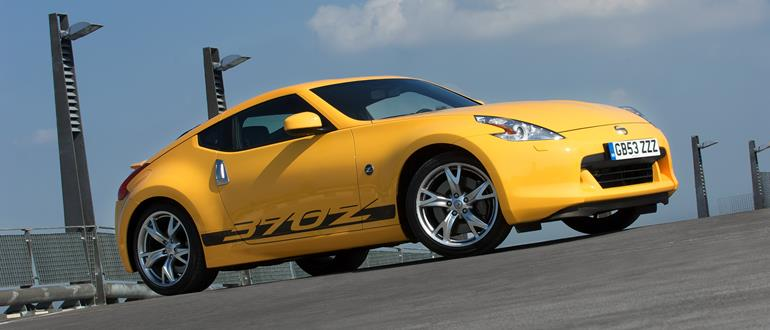 A Nissan 370Z, in yellow.