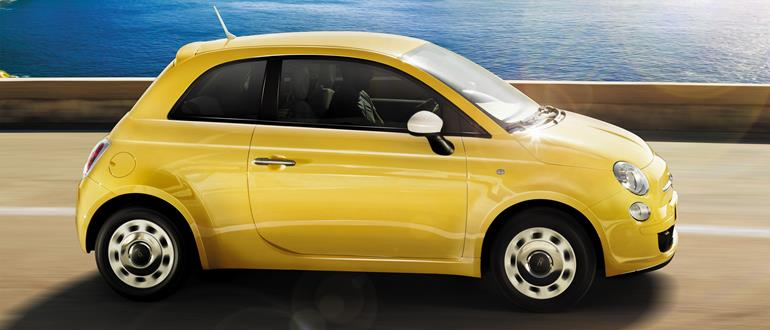 A Fiat 500, in yellow.