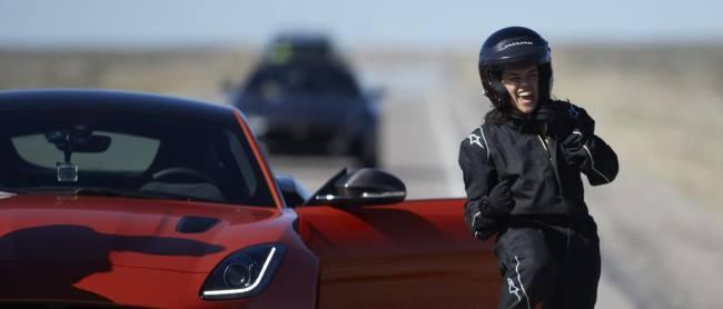 Michelle wasn't impressed when the Jaguar's door slapped her