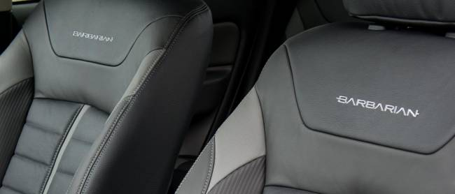 Just in case you forget what model you're driving, they've written it on the seats!