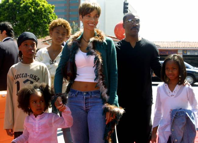 Eddie Murphy and ex-wife Nicole Mitchell with their children
