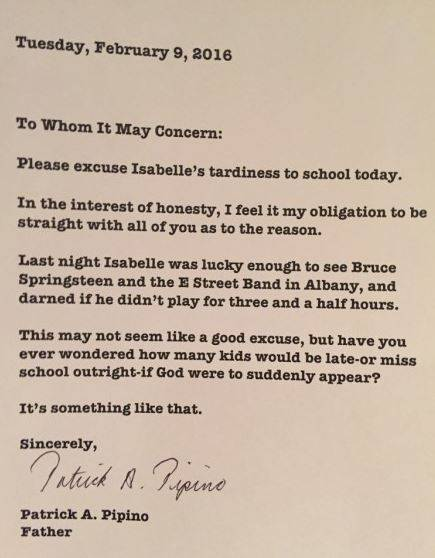 Dad blames Springsteen for daughter's late arrival at school | Image: Patrick Pipino / Imgur
