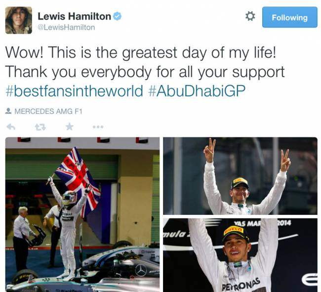 """Lewis, F1 world champion: """"Put your arms in the air like you just don't care"""""""