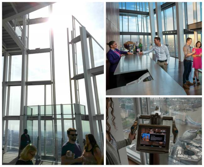 Clockwise: The open-air Skydeck; Champagne Bar; and interactive telescope