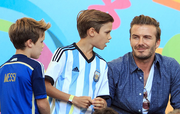 Becks tells the kids he's bought himself and Victoria Germany shirts | Image: Ben Queenborough/BPI/Rex