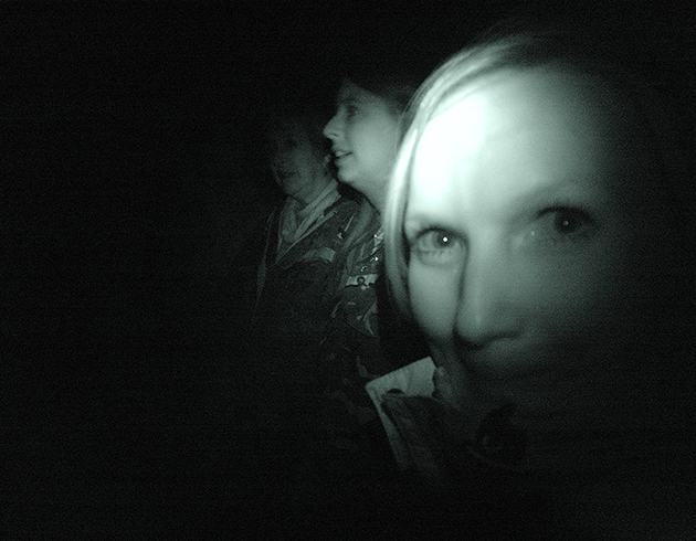 Lianne waits in the dark beside what she believes to be two shrubs | Image: James Draven