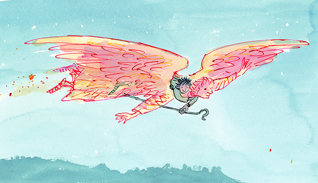 An illustration by the legendary Quentin Blake, from Morpurgo's On Angel Wings | Image: Quentin Blake