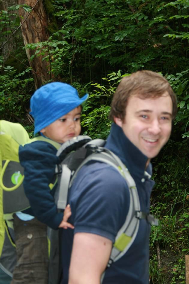 Dad Wearing Child Carrier Rucksack