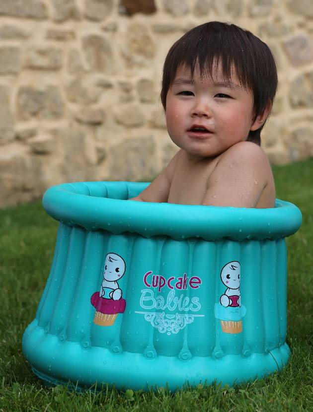 Little Boy In Cupcake Inflatable Bath
