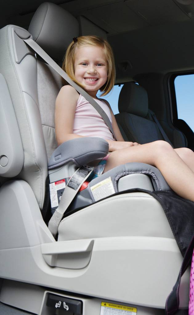 A child in a booster seat - around age 4 up depending on weight