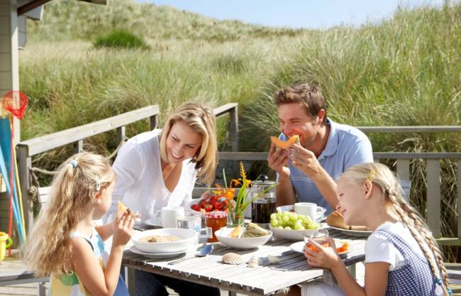 Mealtimes - especially on holiday - can be a great time to bond with your kids.