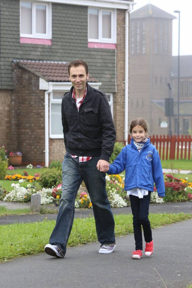 Chris enjoys having the extra time to bond with his kids while walking them to school