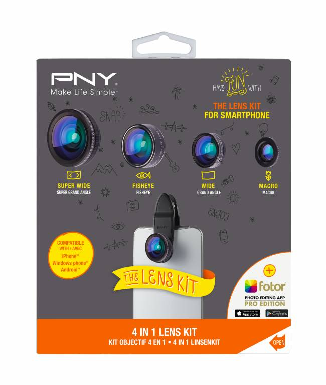 The PNY Accessory Kit 4-in-1 Clip and Lens.
