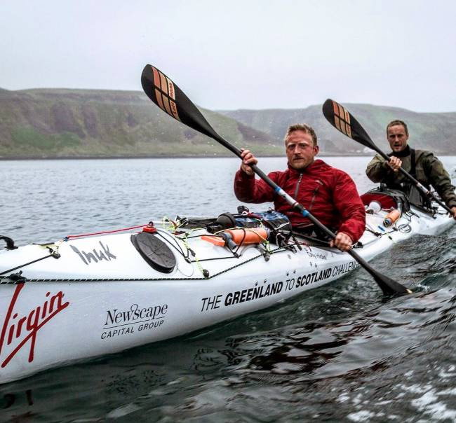 George (back) and Olly (front) paddled 1,200 nautical miles on their expedition. | Image: Emma Hall