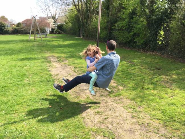 The playground is perfect for dads, um, and the kids