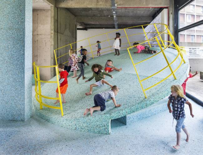 Kids can let loose at the brutalist playground at the Edge