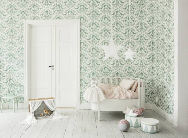 Green is a popular gender-neutral colour for nurseries | Image: Photowall