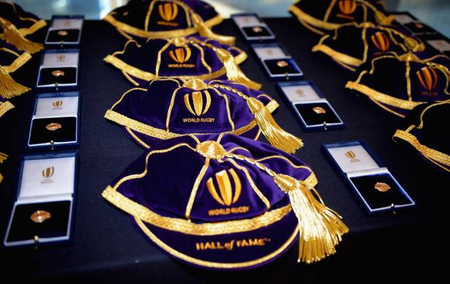 The World Rugby Hall of Fame Caps and Pins   Image: Getty Images.