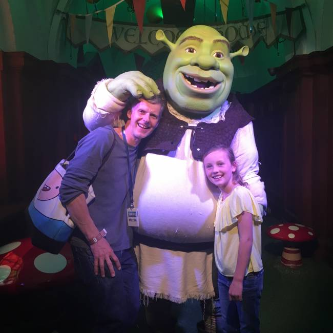 James and his daughter meet Shrek – but are they destined to become Brogres?