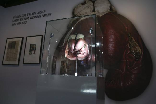 Ali's gloves which he wore during his infamous fight with British boxer, Henry Cooper