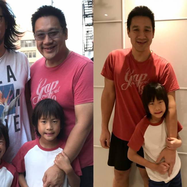 Dave with his son before and after his weight loss.
