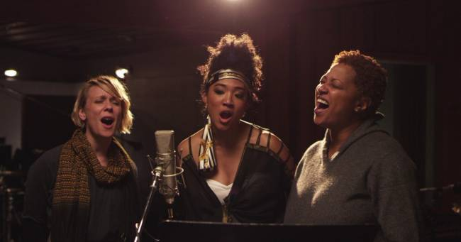 Three great backing singers; two very sore feet | Image: Sony Network Entertainment International