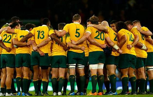 Golden boys: Australia, who helped knock England out, are the form team going in to the Rugby World Cup 2015 quarter-finals | Image: Twitter (@Wallabies)