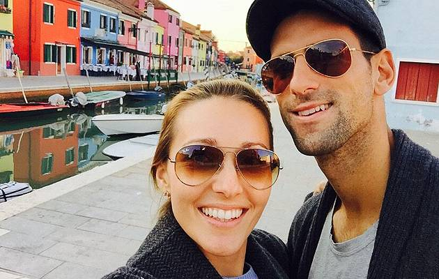 Top of the world: Novak Djokovic, pictured with wife Jelena, has dominated men's tennis this year | Image: @DjokerNole (Twitter)
