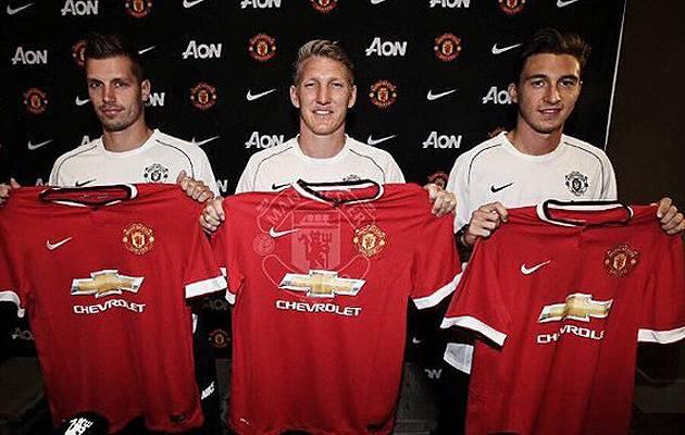 New boys: Manchester United have splashed out close to £72 million on – from left to right – Morgan Schneiderlin, Bastian Schweinsteiger and Matteo Darmian | Image: Instagram (bastianschweinsteiger)